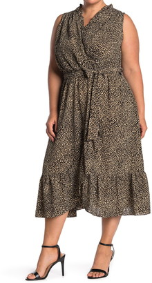 London Times Leopard Print Ruffled Sleeveless Wrap Midi Dress