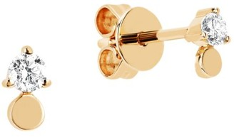 Ef Collection 14K Yellow Gold & Diamond Disc Drop Stud Earrings
