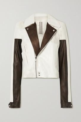 Rick Owens Color-block Leather Biker Jacket - White