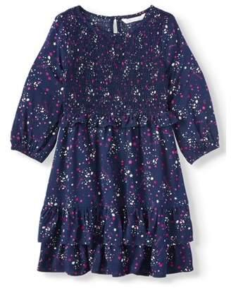 "Aeropostale P.S.09 From p.s.09 from Zodiac Stars & Galaxy"" Printed Challis Smocked Long Sleeve Dress (Little Girls & Big Girls)"
