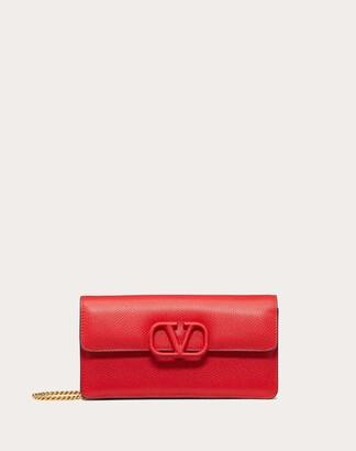 Valentino Garavani Vsling Grainy Calfskin Purse With Chain Strap Women Pure Red 100% Pelle Bovina - Bos Taurus OneSize