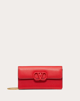 Valentino Vsling Grainy Calfskin Wallet With Chain Strap Women Rouge Pur 100% Pelle Di Vitello - Bos Taurus OneSize