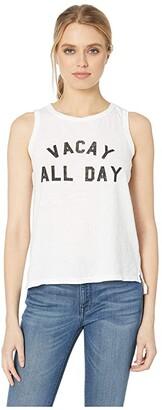 Original Retro Brand The Vacay All Day Slub Cotton Tank Top (White) Women's Clothing