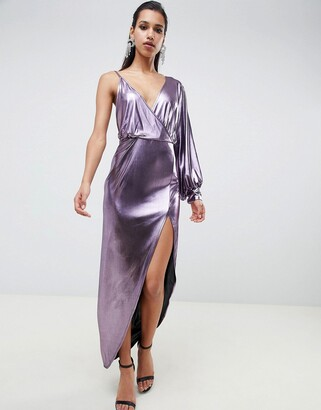 Asos Design DESIGN 70s metallic sleeve detail midi dress-Purple