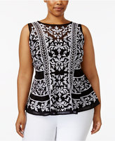 INC International Concepts Plus Size Embroidered Peplum Top, Created for Macy's