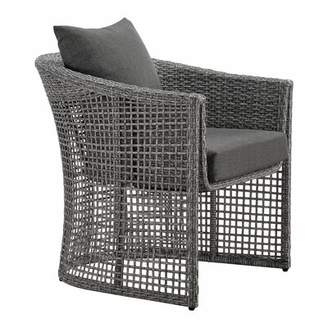 Danny Wicker Patio Chair with Cushions Rosecliff Heights