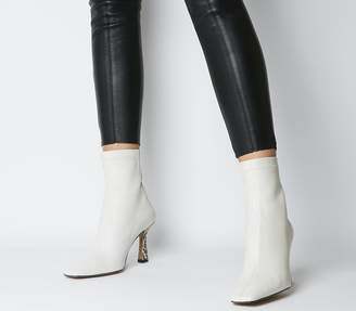 Office Address Dressy Square Toe Boots Off White Leather Feature Heel