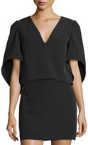 Milly Beetle Butterfly-Sleeve V-Neck Top, Black