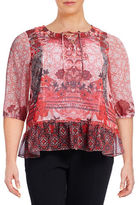 Style And Co. Plus Printed Peplum Peasant Top