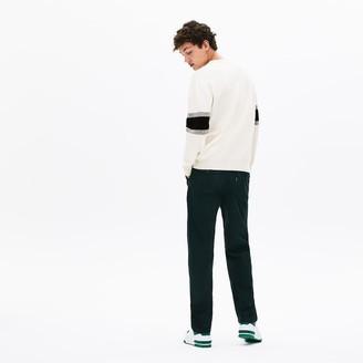 Lacoste Men's Crewneck Striped-Sleeve Heathered Jacquard Sweater