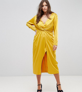 Taller Than Your Average TTYA BLACK Plus Midi Wrap Dress With Knot Front-Yellow