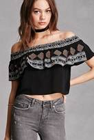 Forever 21 FOREVER 21+ Embroidered Flounce Crop Top
