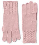 Lands' End Women's Fine Gauge Cable Knit Glove-Navy Blackwatch Plaid