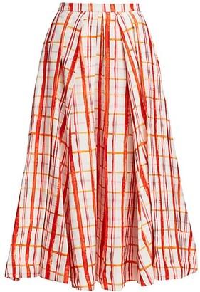 Rosie Assoulin Pleated Printed Midi Skirt