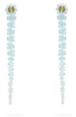 Simone Rocha Drip Floral Beaded Earrings - Womens - Blue