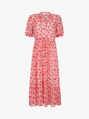 Finery Madelynn Sheer Floral Midi Dress, Pink