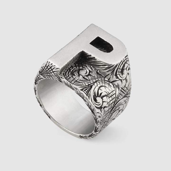 "Gucci P"" letter ring in silver"