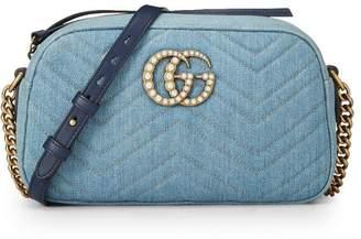 Gucci Blue Denim Pearl Marmont Shoulder Bag