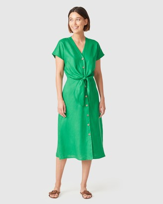 French Connection Women's Dresses - Linen Tie Front Midi Dress - Size One Size, 12 at The Iconic