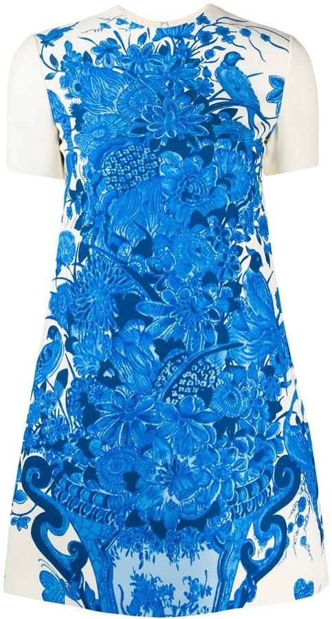 Valentino Floral Print Short-Sleeve Dress