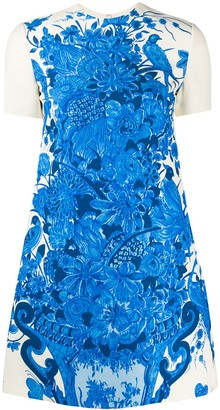 Valentino Floral Print Short-Sleeve Dress