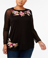 INC International Concepts Plus Size Embroidered Mesh Top, Created for Macy's