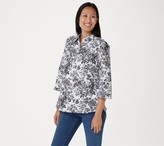 Isaac Mizrahi Live! Toile Printed Woven Shirt with Button Placket