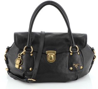 Prada Convertible Pushlock Flap Satchel Leather