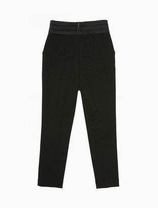 Calvin Klein Satin Pleated Waist Straight Leg Ankle Pants