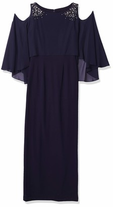 Vince Camuto Women's Cold Shoulder Cape Gown with Embellishment