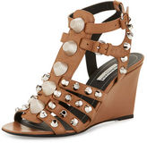 Balenciaga Studded Caged Wedge Sandal