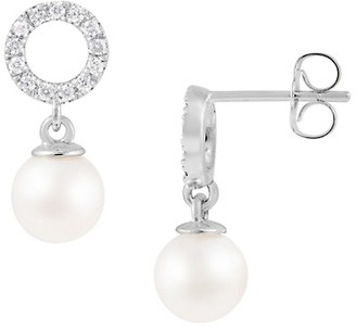 Masako 14K White Gold, 6.5-7MM Round Akoya Pearl Diamond Drop Earrings