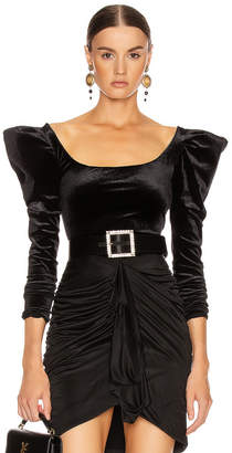 Redemption Velvet Balloon Sleeve Top in Black | FWRD