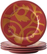 Rachael Ray Gold Scroll 4-Piece Round Appetizer Plate Set, Cranberry Red