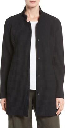 Eileen Fisher Grid Stretch Cotton & Tencel® Blend Jacket