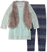 Knitworks Knit Works Lace Top with Fur Vest Legging Set - Girls' 7-16 & Plus