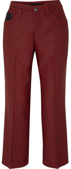 Marc Jacobs Cropped Houndstooth Twill Straight-leg Pants - Red