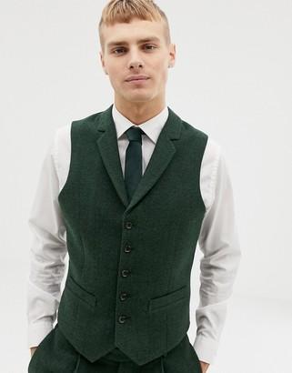 ASOS DESIGN wedding slim suit vest in green wool mix herringbone