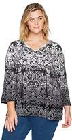 Ruby Rd. Women's Plus Size Rococo Ombre Border Printed Knit Top With Tassels