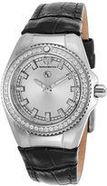 Technomarine Tm-416036 Women's Diamond Eva Longoria Black Genuine Leather -Tone Dial Watch