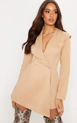 PrettyLittleThing Nude Woven Blazer Playsuit