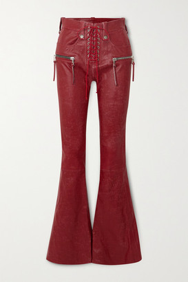 Unravel Project Lace-up Leather Flared Pants - 24