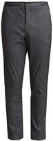 Pinstripe Stretch Cotton & Linen Dress Pants