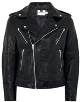 Topman Mens Black Printed Leather Biker Jacket