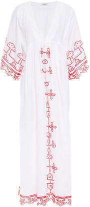 Ganni Gathered Broderie Anglaise Cotton-poplin Midi Dress