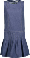 Suno Pleated denim mini dress