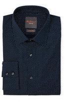 Ben Sherman Navy & White Dotted Stretch Fit Dress Shirt
