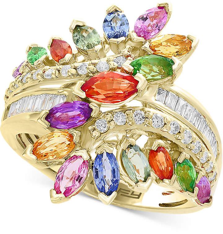 Effy Multi-Gemstone (3 ct. t.w) & Diamond (1/5 ct. t.w) Statement Ring in 14k Yellow Gold