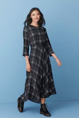 Next Womens Monochrome Check Asymmetrical Midi Dress - Black
