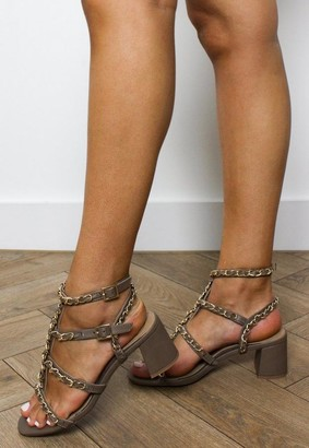 Missguided Taupe Chain Gladiator Block Heel Sandals